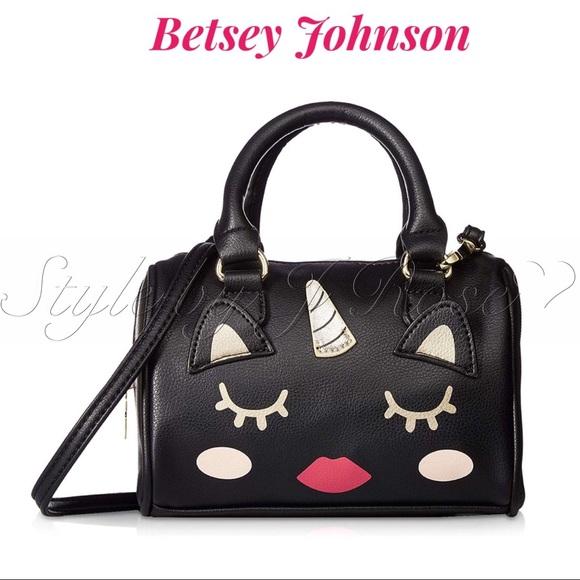 Betsey Johnson Handbags - NWT's Betsey Johnson Black Unicorn Crossbody